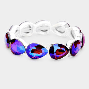 WHIMSICAL Silver Vibrant Blue Crystal Stretch Cocktail Bracelet