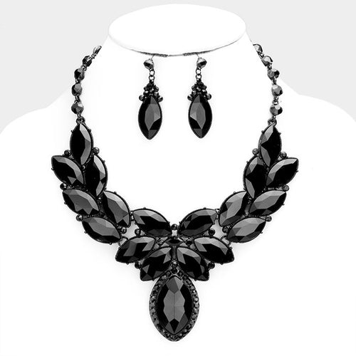 GLAM Statement Black Jet Crystal Collar Cocktail Necklace Set