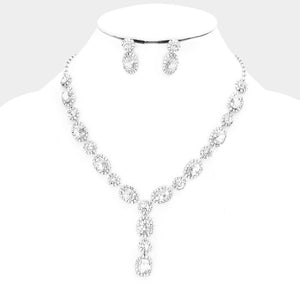 CLASSIC Gorgeous Silver Clear Crystal Cocktail Y Necklace Set