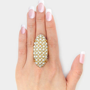WHIMSICAL Gold Crystal Cream Pearl  Oval Stretch Cocktail Ring