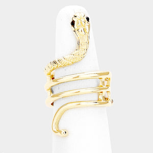 FABULOUS Gold Crystal Snake Stretch Cocktail Ring