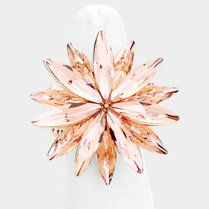 Huge 1.25 Rose Gold Peach Crystal Stretch Cocktail Ring