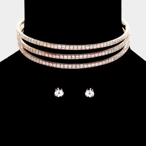 Statement Glam Flexi Gold Crystal 3 row Choker Necklace Set