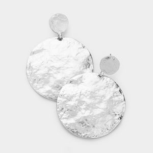 "BEAUTIFUL Celeb Silver Big 2"" Hammered Circle Earrings"