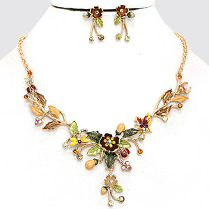 ELEGANT  Gold Brown Shades Crystal Enamel Necklace Set