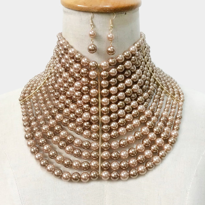 LUXE Statement Gold Wide Brown Pearl Choker Necklace Set