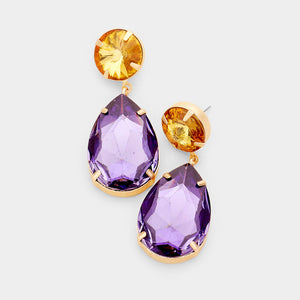 "WHIMSICAL Gold Topaz & Amethyst Crystal 2"" Cocktail Earrings"