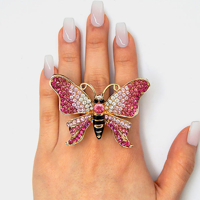 HUGE Gold Pink Butterfly Crystal Stretch Cocktail Ring