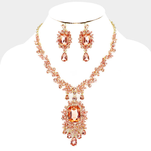 Beautiful Gold Peach Crystal Vine Glam Cocktail Necklace Set