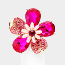 WHIMSICAL Gold Fuchsia Crystal Pearl Stretch Flower Cocktail Ring