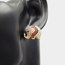 GLAM Gold Red Green Crystal Elephant Stud Cocktail Earrings