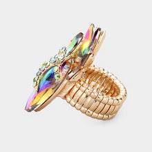 Statement Gold Vibrant Vitrail Crystal Stretch Cocktail Ring