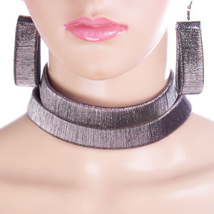 FABULOUS Statement Hematite Metallic Choker Necklace Set