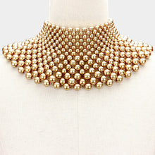 Statement Gold Faux Pearl / Bead Wide Bib Choker Necklace