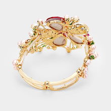 WHIMSICAL Gold Fuchsia Crystal Pink Pearl Stretch Bracelet