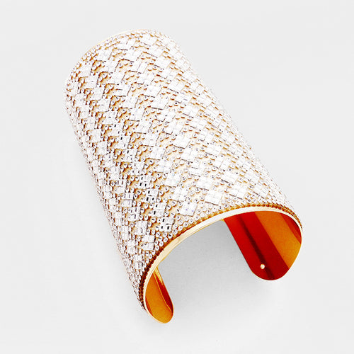 CELEB Glam Oversized Clear Crystal Cuff Bangle