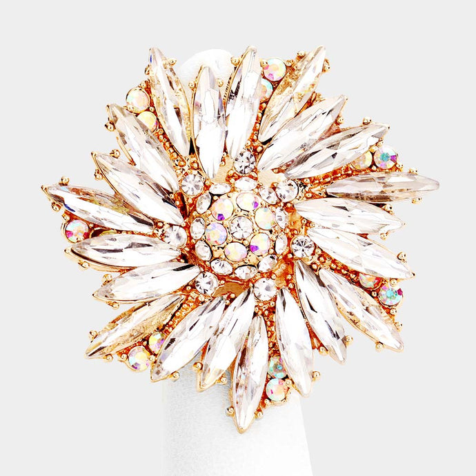Gorgeous Gold Clear Crystal Flower Stretch Cocktail Ring