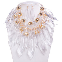 SPECTACULAR Statement Gold Lucite Pearl Bib Necklace Set