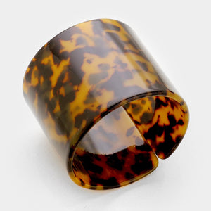 Gorgeous Statement Brown Tortoise Wide Celluloid Cuff Bracelet