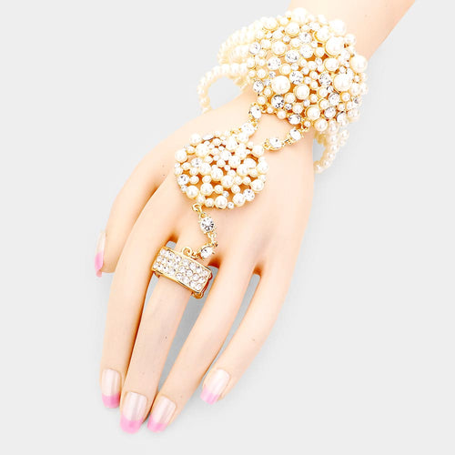 Gold Pearl Gatsby Stretch Bracelet Hand Chain Stretch Ring