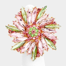 Gorgeous Gold Pink Peridot Crystal Flower Stretch Cocktail Ring
