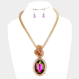 BEAUTIFUL Statement Gold Vitrail Big Crystal knotted Necklace Set