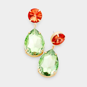 "WHIMSICAL Gold Coral & Peridot Crystal 2"" Cocktail Earrings"