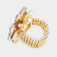 STATEMENT Huge 1.25 Gold Vitrail Crystal Stretch Cocktail Ring
