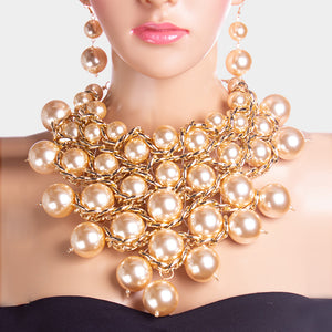 LUXE SPECTACULAR Statement Gold Cream Pearl Bib Necklace Set