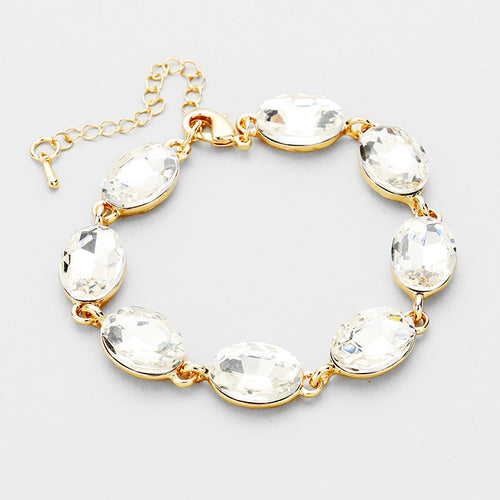 LA Collection Classy Statement Clear Crystal Cocktail Bracelet
