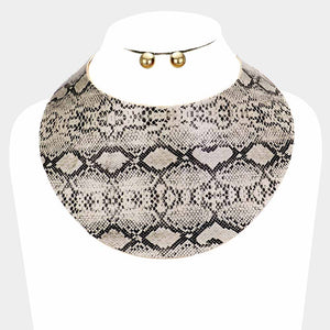 LUXE Statement Gold Black Ivory Snake Cuff Choker Necklace Set