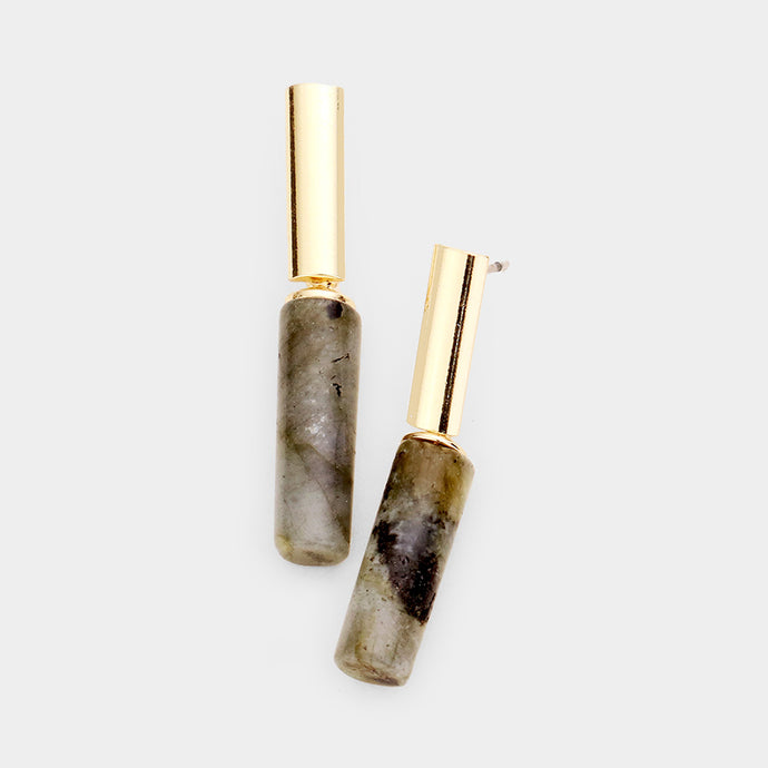 Understated Natural Stone Grey Shades Cylinder Abstract Earrings