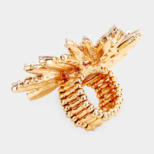HUGE Gold Vibrant Vitrail Crystal Flower Stretch Cocktail Ring