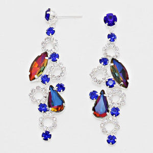 "Silver Blue Fire Crystal  2.5"" Cocktail Earrings"