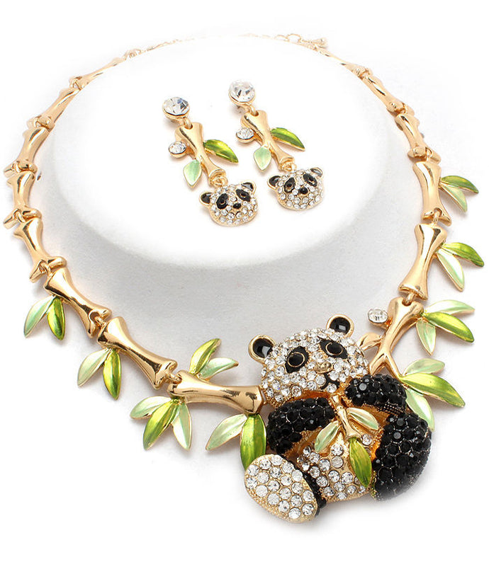 Statement Gold Crystal Panda Necklace Set
