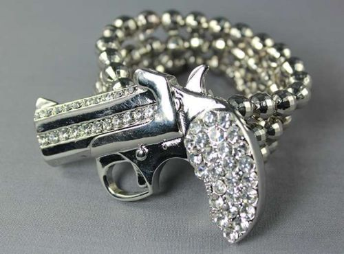 Silver Quirky Crystal Pistol Stretch Bracelet