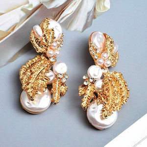 "WHIMSICAL Gold White Pearl Crystal 2"" Cocktail Bridal Earrings"