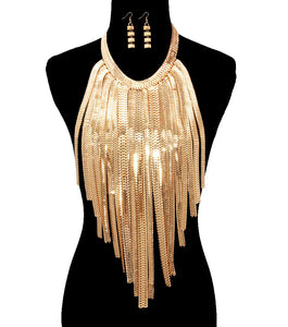 HUGE Statement Big Gold Omega Chain Body Necklace Set