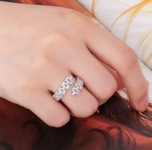 ELEGANT White Gold Plating CZ Adjustable Cuff Cocktail Ring