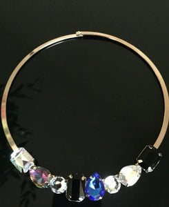 Statement Gold Multi Coloured Crystal Choker Collar Necklace