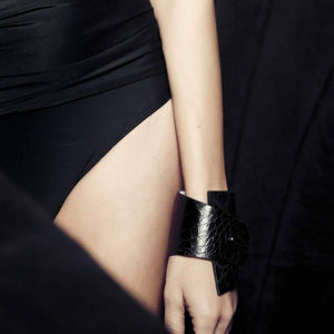 HAND MADE STATEMENT Black Faux Crocodile leather Cuff Bracelet