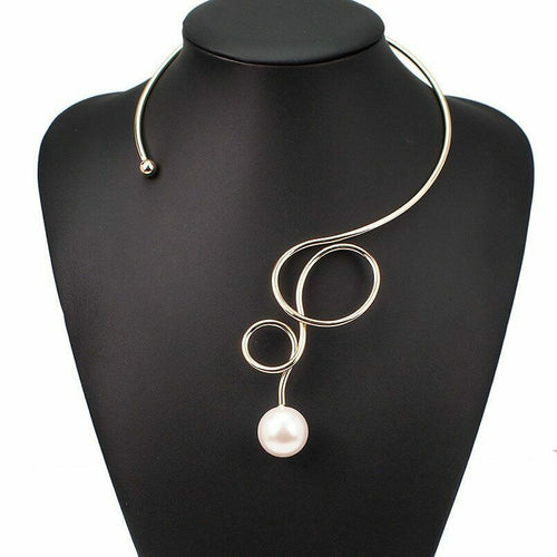 STATEMENT Pearl Cuff Choker /Collar Metal Swirl Necklace Ring Set