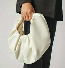 VEGAN LEATHER On Trend Medium Ruched White Bag Amiee Handbag