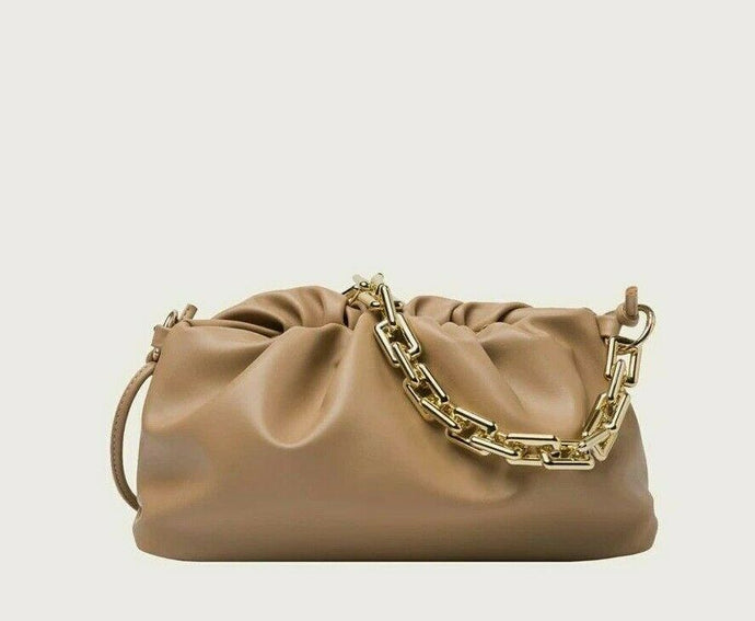 VEGAN LEATHER Biscuit Brown Ruched Shoulder Bag Della Handbag