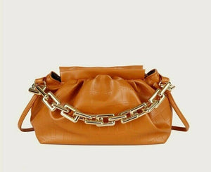 VEGAN LEATHER SMALL Tan Croc Embossed Chain Ruched Casey Handbag