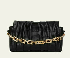 VEGAN LEATHER Black Embossed Chain Handle Ruched Bag Nell Handbag