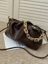 VEGAN LEATHER Chocolate Brown Ruched Shoulder Bag Della Handbag