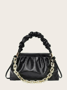 VEGAN LEATHER Black Crocodile Chain Ruched Shoulder Jay Handbag