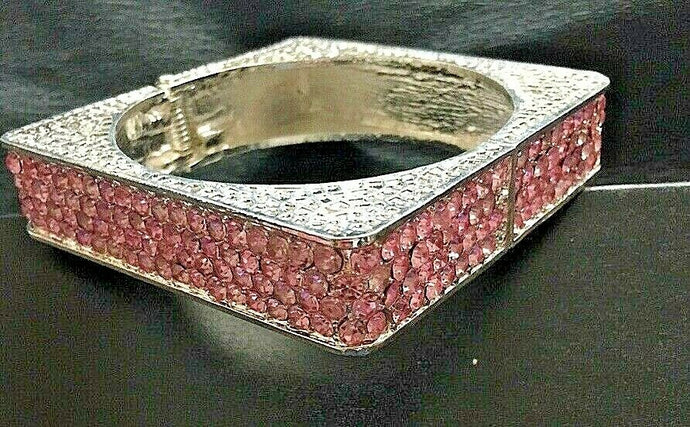 CONTEMPORARY Glam Silver Baby Pink Crystal Square Bangle Bracelet
