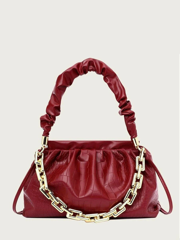 VEGAN LEATHER Red Wine Croc Chain Clutch Shoulder Jay Handbag